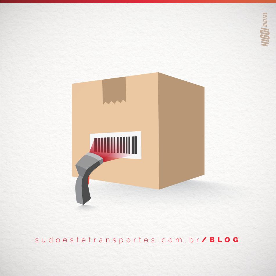 caixa com leitor de codigo de barras